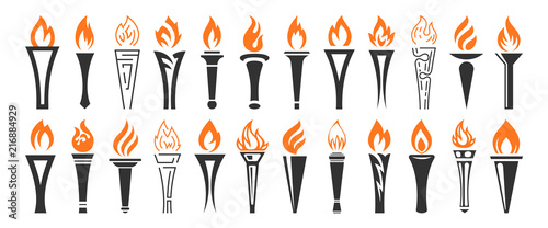 Fotografiet Torch and flame icons set