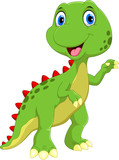 Fototapeta Dinusie - Cute dinosaur cartoon isolated on white background