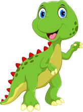 Cute Dinosaur Cartoon Isolated On White Background