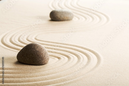 Aluminium Prints Stones in Sand Zen stones in the sand