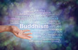 Buddhism Word Tag Cloud - male hand gesturing towards a BUDDHISM word cloud against a graduated dark blue boheh background