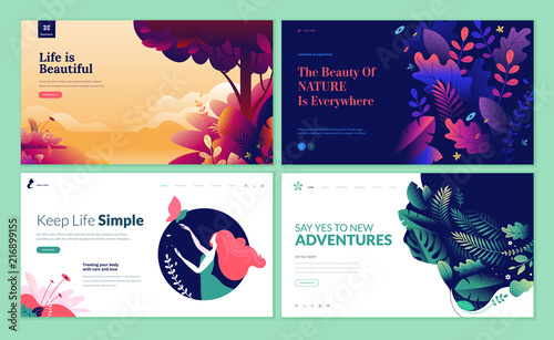 Poster Hoogte schaal Set of web page design templates for beauty, spa, wellness, natural products, cosmetics, body care, healthy life. Modern vector illustration concepts for website and mobile website development.