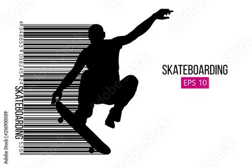 Fotografía Silhouette of a skateboarder. Vector illustration