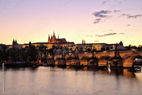 Staande foto Praag Prague Castle with Charles Bridge at Dusk