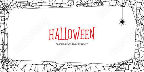 Fotografiet Halloween horizontal frame black cobweb and spider on white background ilustration vector