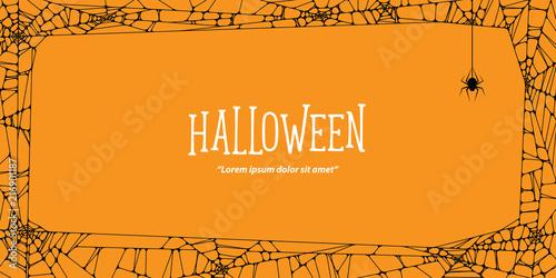 Cuadros en Lienzo Halloween  horizontal frame black cobweb and spider on orange background ilustration vector