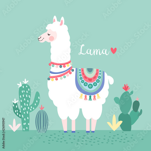 Lama with cactus, greeting card, vector illustration Wallpaper Mural