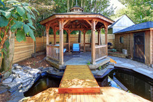 Fabulous Gazebo With A Pond In The Back Yard.