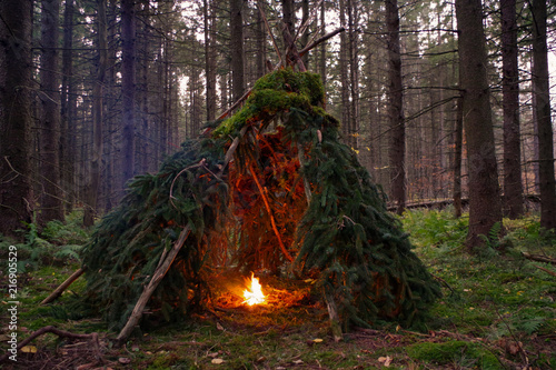 Fotografie, Obraz Primitive Wikiup Bushcraft Survival Shelter with a campfire burning in the Forest