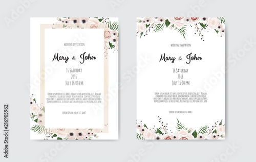 Fototapeta Vector Invitation With Handmade Floral Elements Wedding Invitation Cards With Floral Elements