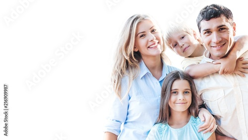 Fototapeta Beautiful smiling Lovely family on background obraz