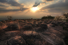 Beautiful Scenery During Sunset Time Of LAN HIN PUM Viewpoints At Khao Kho District ,Phetchabun Province In Thailand Is A Very Popular For Photographer And Tourists. Attractions And Natural Concept.