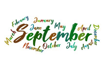 September Colorful Lettering Name Of Month Calendae