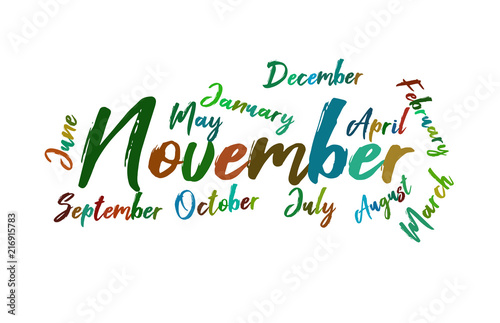 november colorful lettering name of month calendae buy this stock