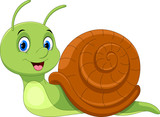 Fototapeta Fototapety na ścianę do pokoju dziecięcego - Cute cartoon snail isolated on white background