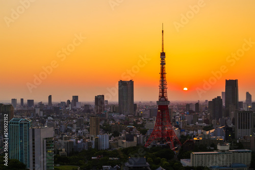 Fototapety, obrazy: cityscape at sunset in Tokyo, Japan