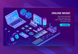 Vector 3d isometric template of site of online listening music, songs. Service for smartphone, laptop or other devices. Illustration with mixer, earphones with phone in violet, ultraviolet color