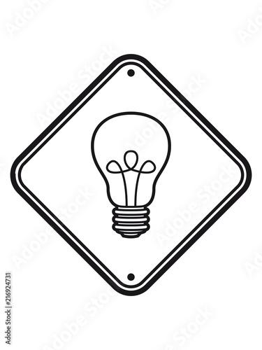 Schild Achtung Gefahr Warnung Vorsicht Hinweis Danger Glühbirne