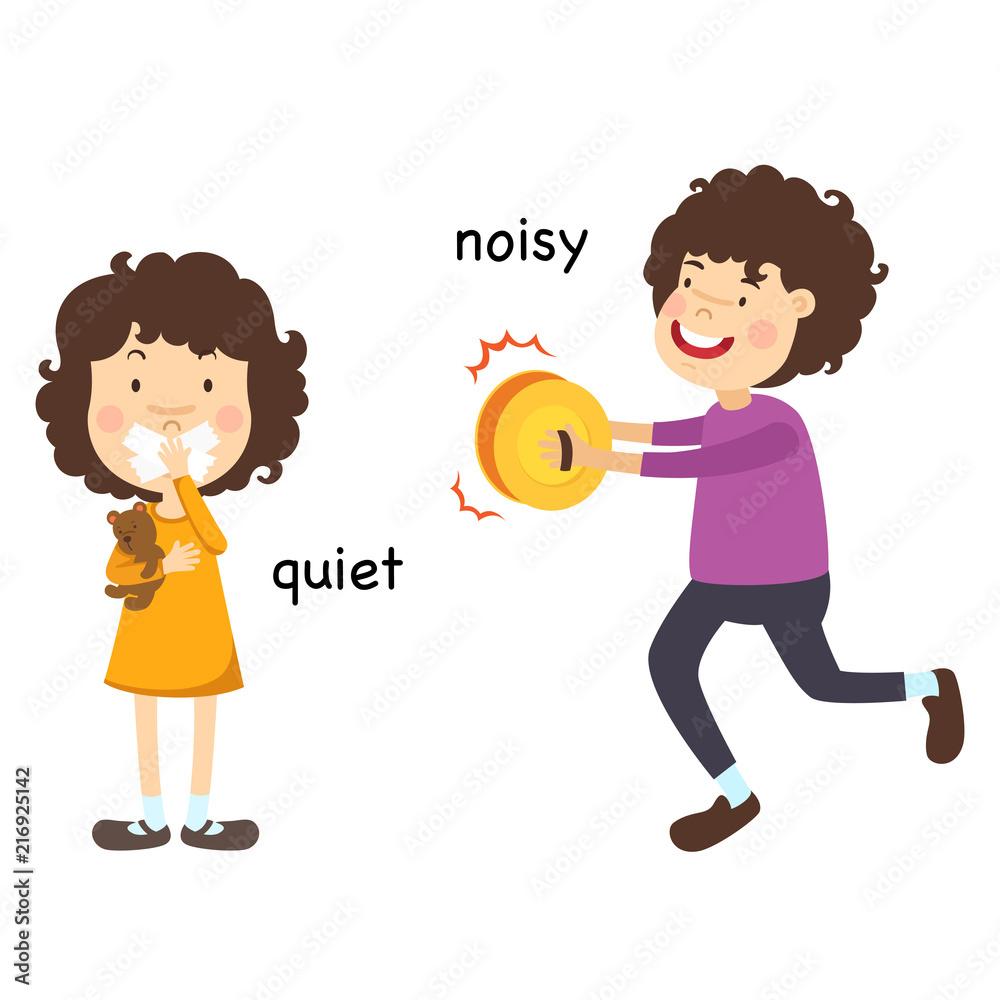 Fototapeta Opposite quiet and noisy vector illustration