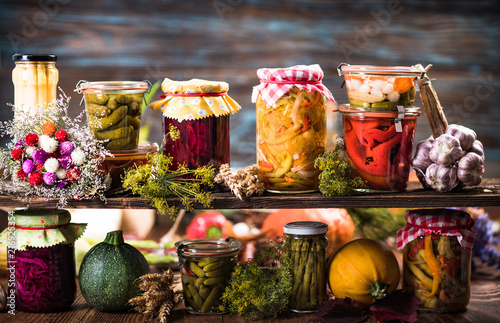 Preserved food, marinated fermented and pickled vegetables Wallpaper Mural