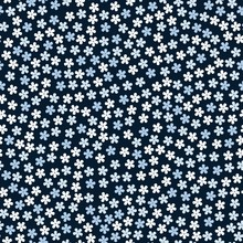 Ditsy Seamless Floral Pattern With Little Blue And White Flowers On Black Background. Print For Fabric, Textile, Wrapping Paper.