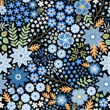 Seamless Ditsy Floral Pattern With Beautiful Blue Flowers And Leaves On Black Background In Folk Style. Summer Template For Fashion Prints In Vector.