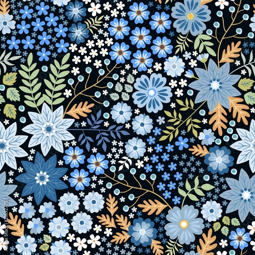 seamless-ditsy-floral-pattern-with-beautiful-blue-flowers-and-leaves-on-black-background-in-folk-style-summer-template-for-fashion-prints-in-vector