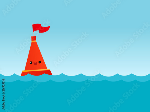 Fototapeta Vector illustration of a cute smiling buoy in the water
