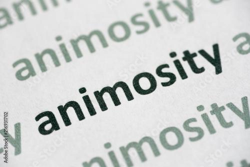 word animosity printed on paper macro Wallpaper Mural
