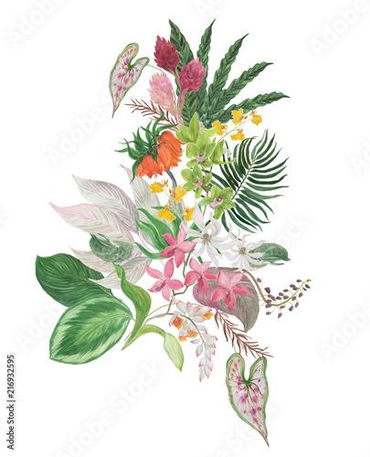 kolorowa-kwiecista-kolekcja-z-liscmi-i-tropikalnymi-kwiatami-rysunek-akwarela