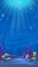 Vertical Background - Blue Theme Of Undersea World