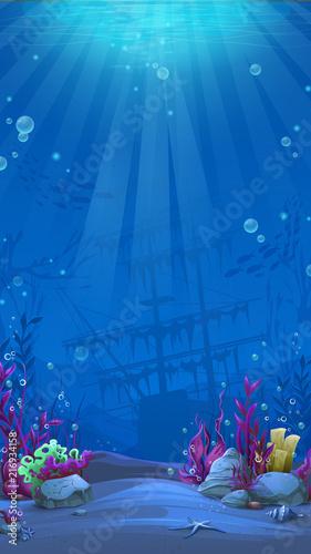 Foto Vertical background - blue theme of undersea world