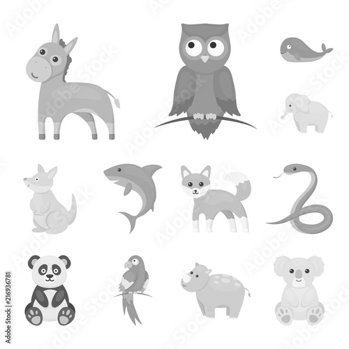 Poster de jardin Zoo An unrealistic animal monochrome icons in set collection for design. Toy animals vector symbol stock web illustration.