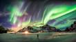 Leinwandbild Motiv Aurora borealis (Northern lights) over mountain with one person