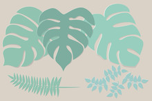 Collection Of Green Leaves Paper Cut Style