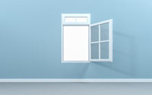Open Window In Empty Room With Clipping Path. 3d Rendering