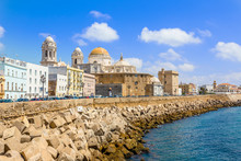 Seafront View Of Cadiz With Cathedral And Street In The Background, Cadiz, Spain