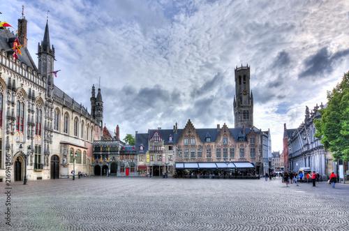 Wall Murals Bridges Burg square and Belfort tower, Bruges, Belgium