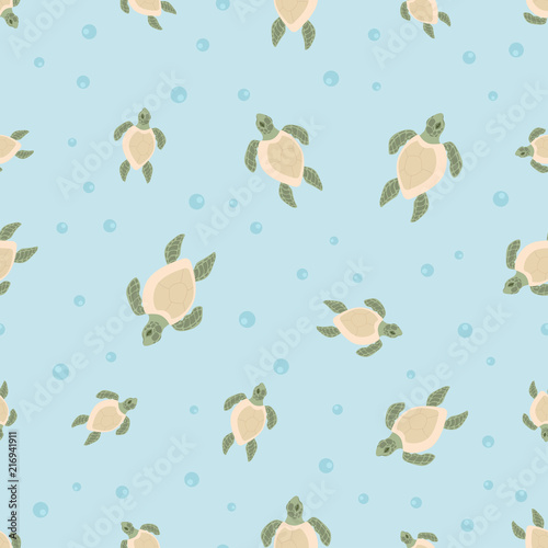 pattern with cartoon tortoises Lerretsbilde