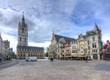 canvas print picture - Saint Bavo square and Belfort tower, Gent, Belgium