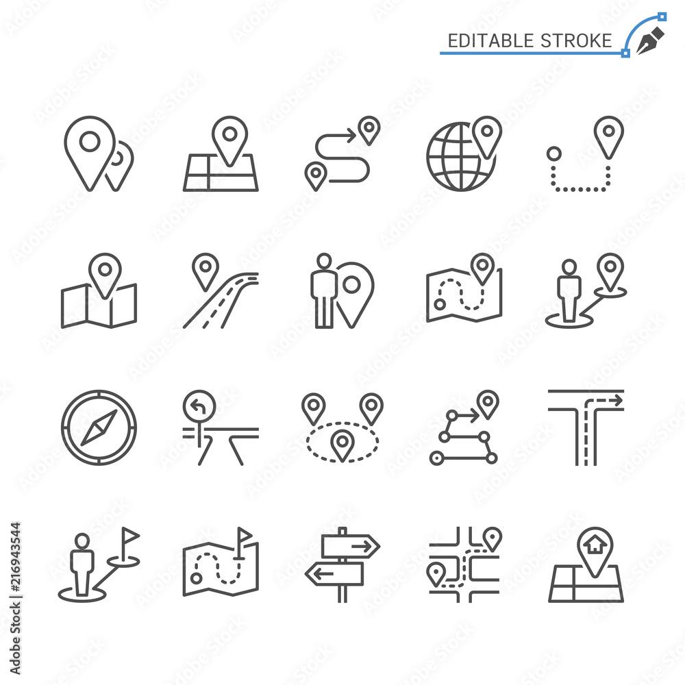 Fototapeta Route line icons. Editable stroke. Pixel perfect.