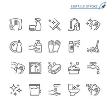 Cleaning Line Icons. Editable ...