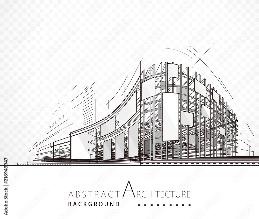Fototapeta Architecture abstract black and white building design background.