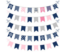 Pink, Blue And Grey Nautical B...
