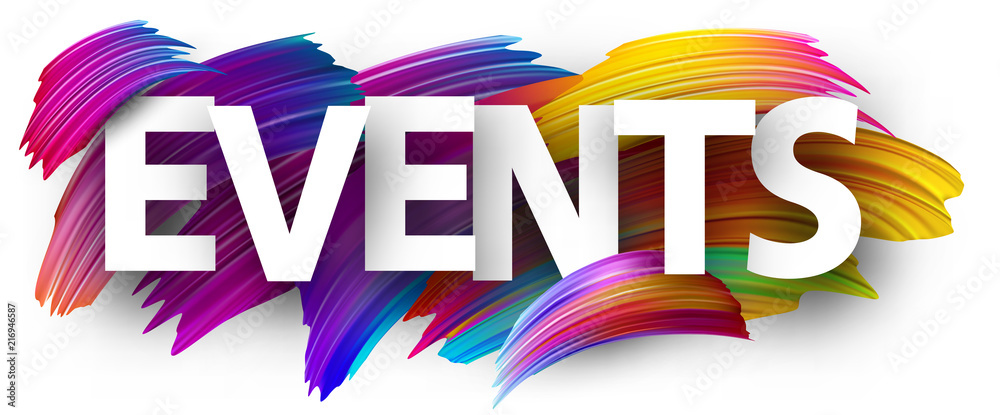 Fototapeta Events paper poster with colorful brush strokes.