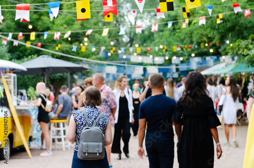 Odessa, Ukraine - July 07, 2018: Food Festival in Odessa, Ukraine. A lot of people attend an annual event dedicated to street food from suppliers and local restaurants. - 216947304