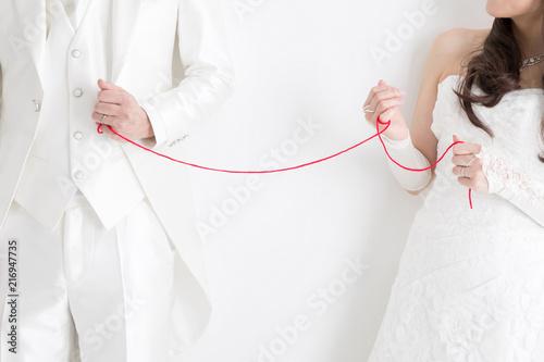 新郎新婦と赤い糸
