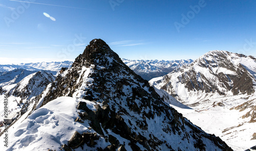 Spoed Foto op Canvas Alpen Beautiful view of the Alps mountains, Austria, Stubai