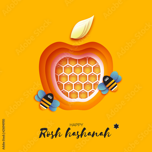 Jewish New Year Rosh Hashanah Greeting Card Apple Shape With Honey Gold Cell And Honey Bee In Paper Cut Style Origami Happy Holiday In Hebrew Yellow Background Buy This Stock Vector