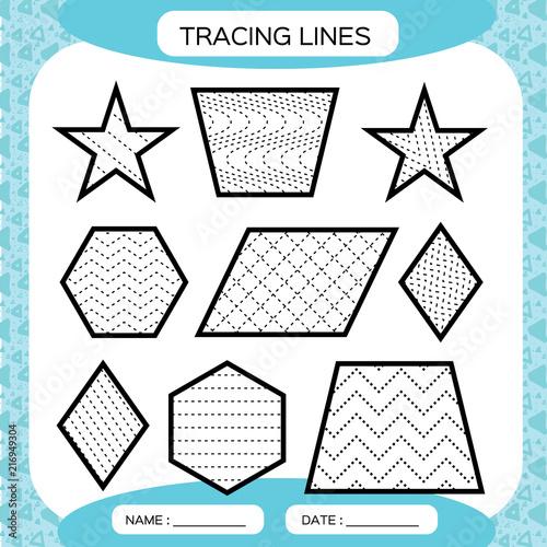 Tracing Lines. Kids Education. Preschool Worksheet. Basic Writing. Kids  Doing Worksheets. Fine Motor Skills. Waves And Zigzag Lines. Blue  Background. Star, Hexagon,rhombus. Stock Vector Adobe Stock